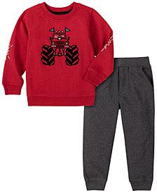 Kids Headquarters Toddler Boys 2-Piece Heathered Monster Truck Fleece Top with Fleece Pant Set