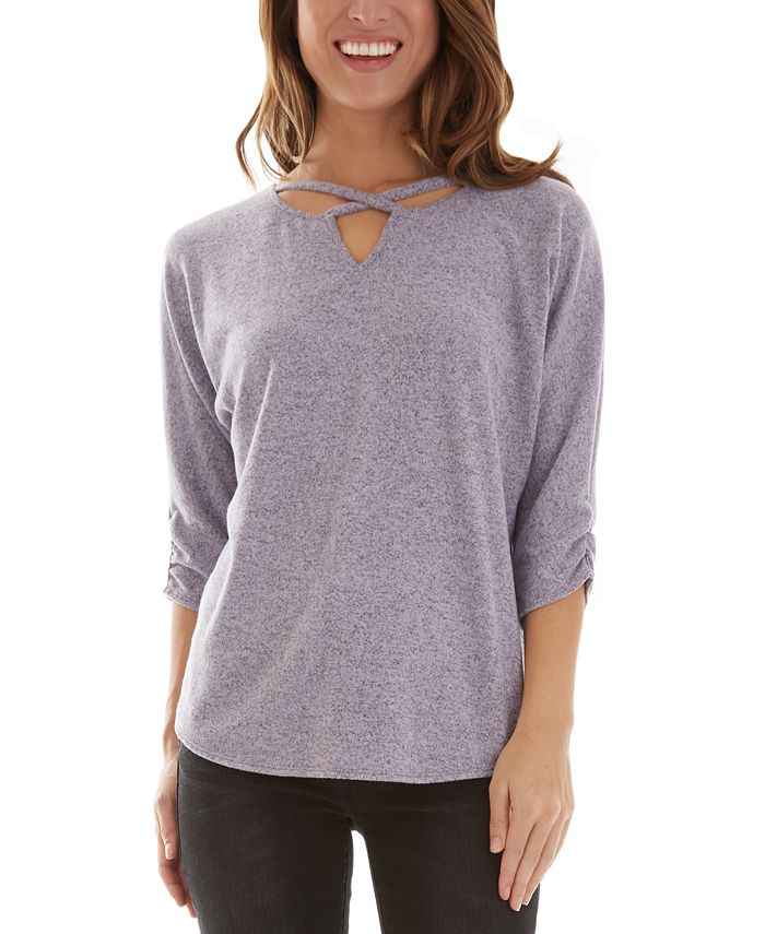 BCX - Juniors' Strappy 3/4-Sleeve Top