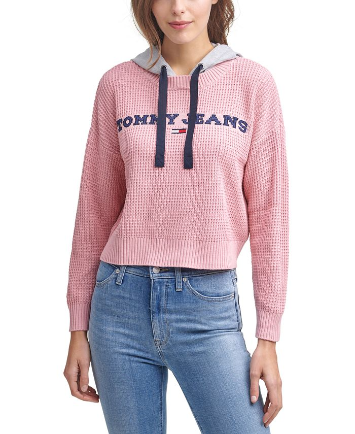 Tommy Jeans - Mixed-Media Waffled Hoodie Sweater