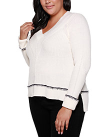 Belldini Black Label Plus Size Crossover V-Neck Sweater With Cuffed Sleeves