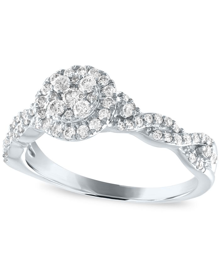 Macy's - Diamond Halo Engagement Ring (3/4 ct. t.w.) in 14k White Gold