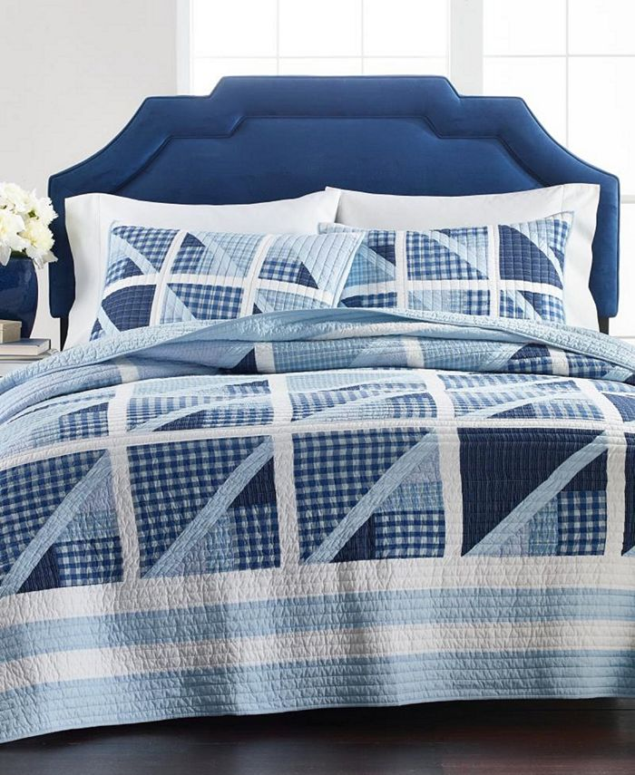 Martha Stewart Collection - Sailboat Yarn Dye Patchwork 100% Cotton Quilt Collection, Created for Macy's