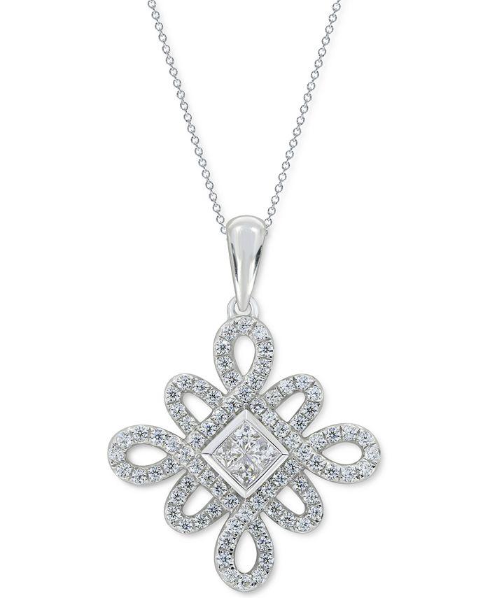 "Macy's - Diamond 18"" Pendant Necklace (3/4 ct. t.w.) in 14k White Gold"