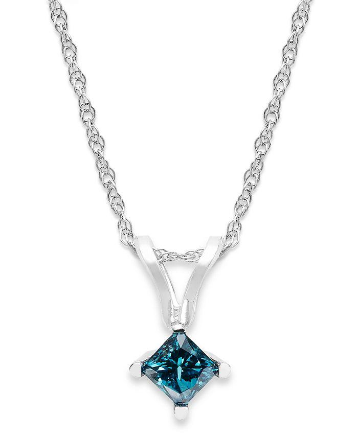 Macy's - 10k White Gold Blue Diamond Pendant Necklace (1/5 ct. t.w.)