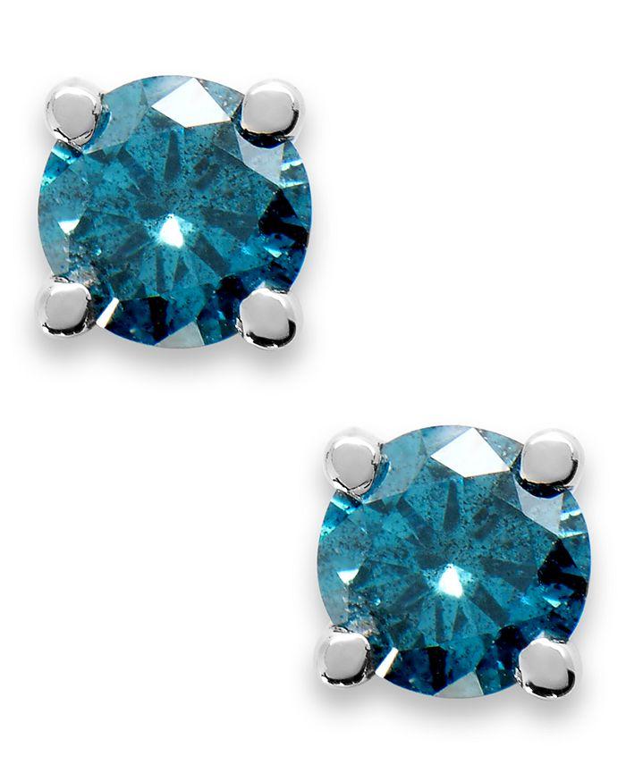 Macy's - 10k White Gold Blue Diamond Round Stud Earrings (1/4 ct. t.w.)