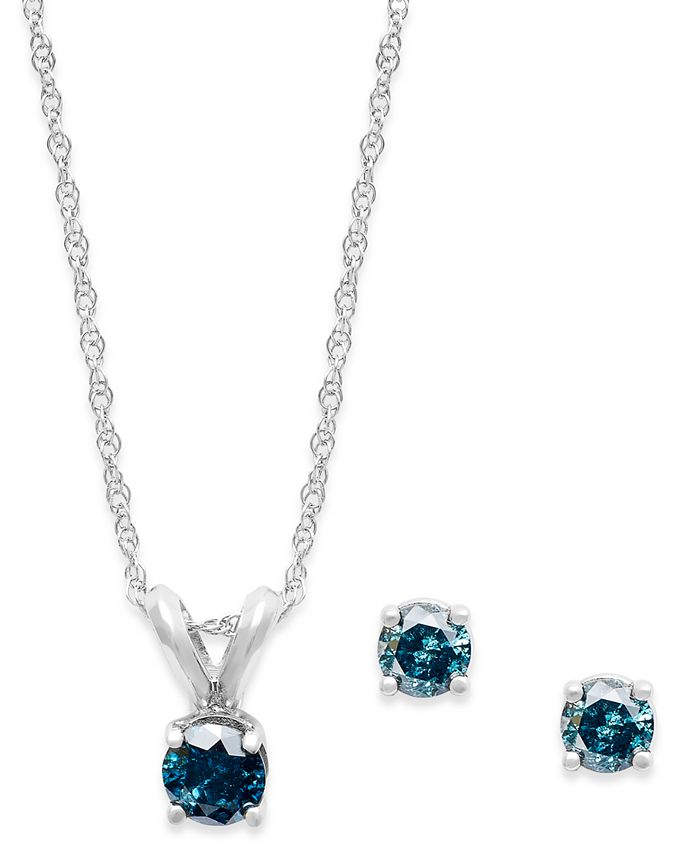 Macy's - 10k White Gold Blue Diamond Necklace and Earring Set (1/6 ct. t.w.)