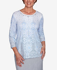 Plus Size French Bistro Ombre Medallion Print Top