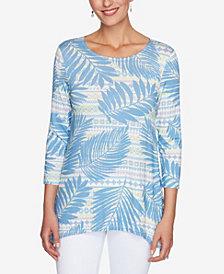 Ruby Rd. Plus Size Knit Palm Stripe Top