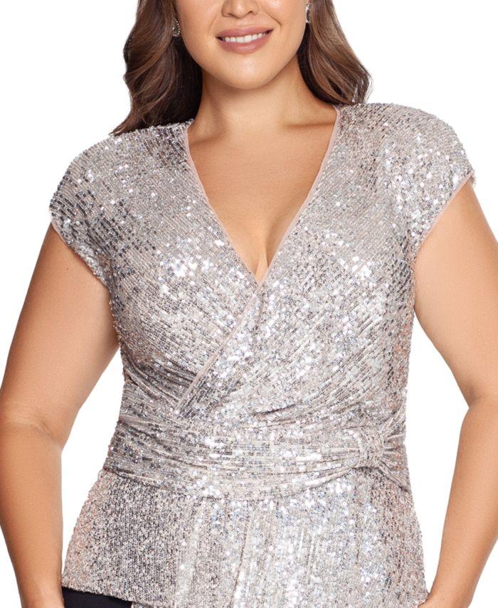 XSCAPE Plus Size Sequin-Top Scuba Crepe Gown & Reviews - Dresses - Plus Sizes - Macy's