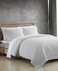 Garment Washed Solid 3 Piece King Quilt Set