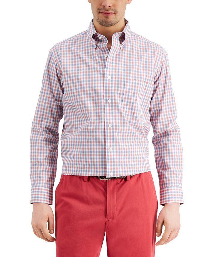 Club Room - Men's Classic/Regular-Fit Performance Stretch Gingham Check Dress Shirt