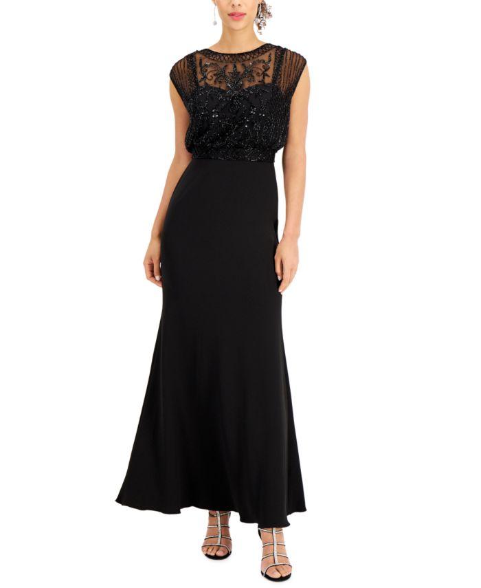 J Kara Beaded Chiffon Gown & Reviews - Dresses - Women - Macy's