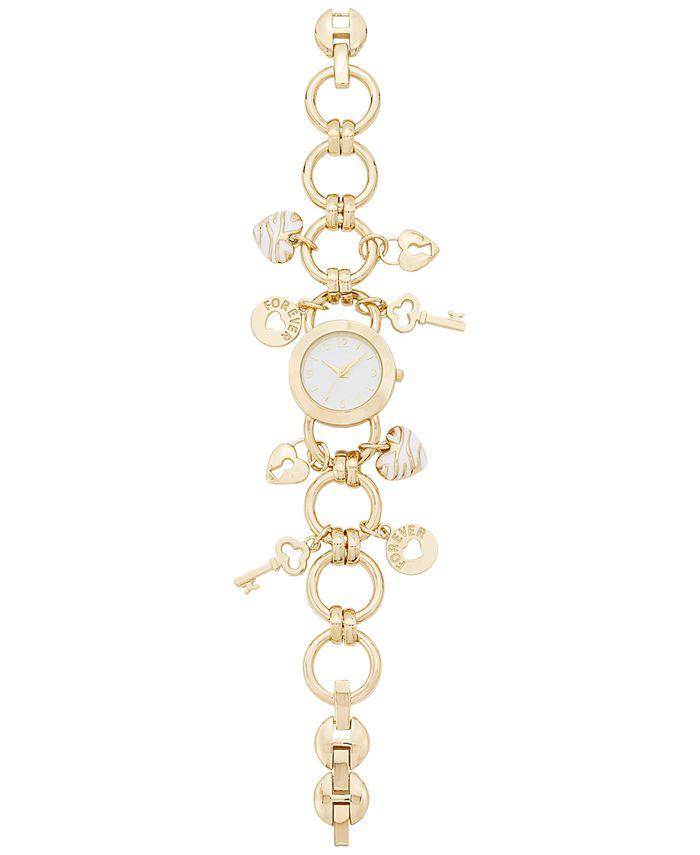 Charter Club - Women's Gold-Tone Key Charm Bracelet Watch