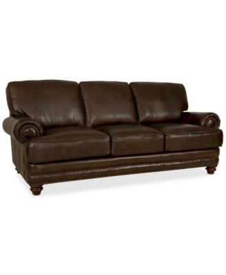 Martha Stewart Collection Leather Sofa Bradyn 89w X 38d X