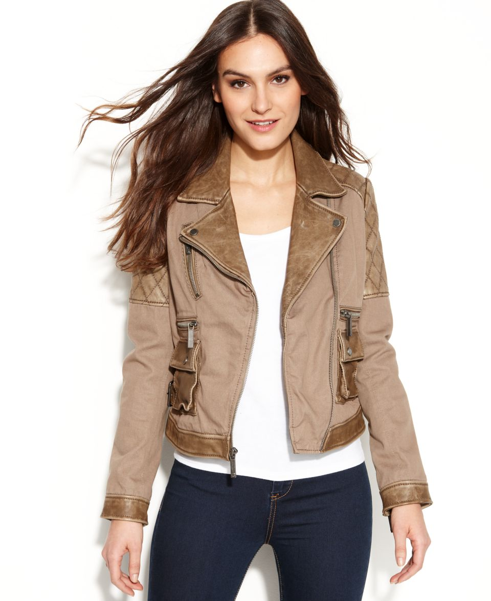 MICHAEL Michael Kors Cropped Leather Moto Jacket   Women