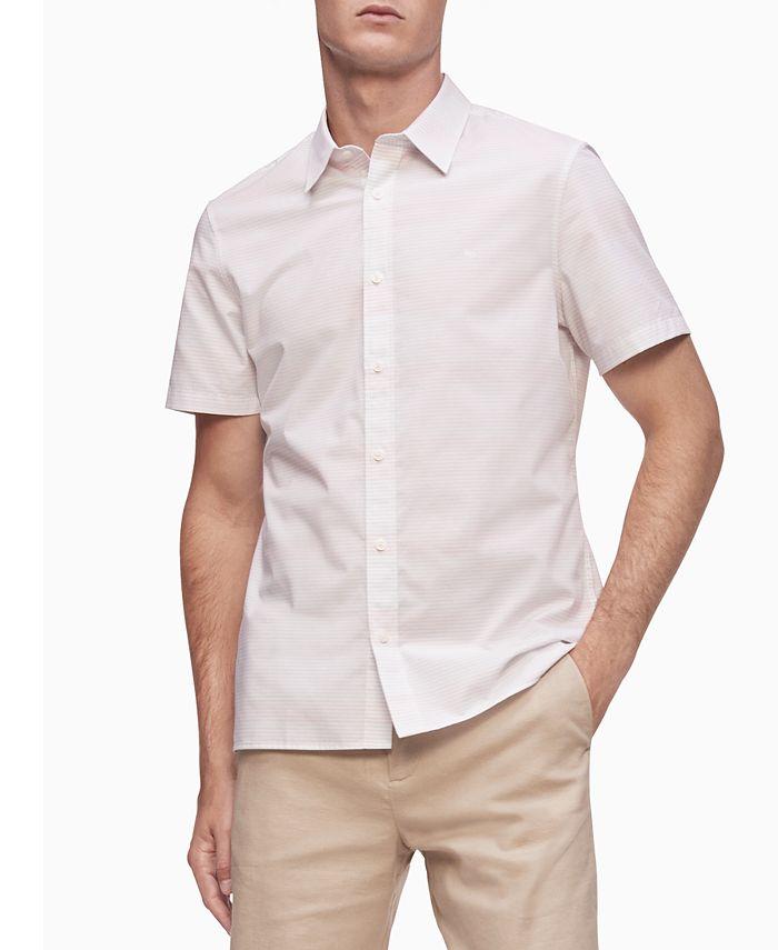 Calvin Klein - Men's Short Sleeve Stretch Cotton Stripe Shirt