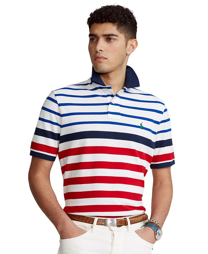 Men's Big & Tall Striped Mesh Polo Shirt