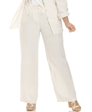 Jm Collection Plus Size Linen Wide-Leg Drawstring Pants