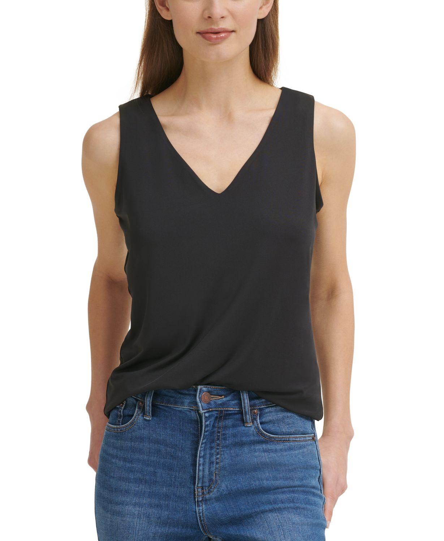 Calvin Klein V-Neck Tank Top & Reviews - Tops - Women - Macy's