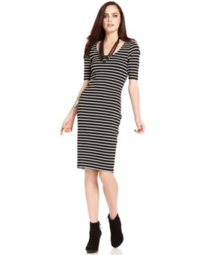 Bar Iii Striped Midi Dress $ 39.99