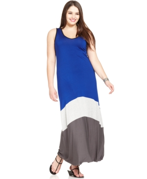 Ing Plus Size Sleeveless Colorblocked Maxi Dress