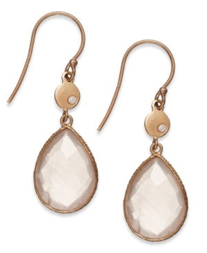Studio Silver - Quartz Stone and Cubic Zirconia Accent Teardrop Earrings in Rose Gold over Sterling Silver