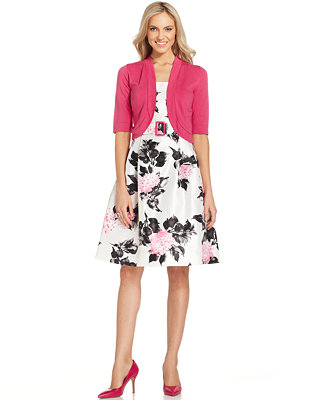 Jessica Howard Floral Print Belted Dress And Jacket