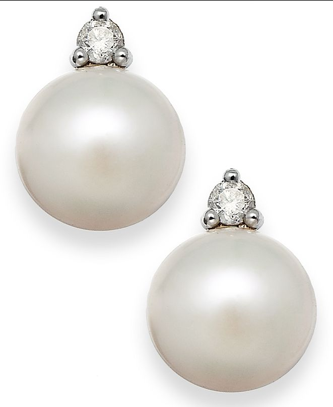 Macy's Akoya Pearl (7mm) and Diamond Accent Stud Earrings in 14k White Gold