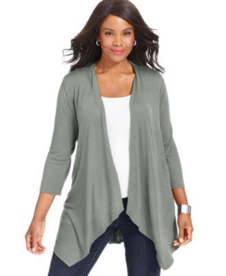 Style&co. Plus Size Three-Quarter-Sleeve Peplum-Hem Cardigan