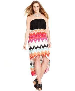 Trixxi Plus Size Strapless High-Low Maxi Dress