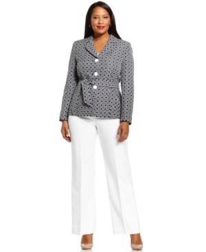 Le Suit Plus Size Graphic-Print Jacket Pantsuit