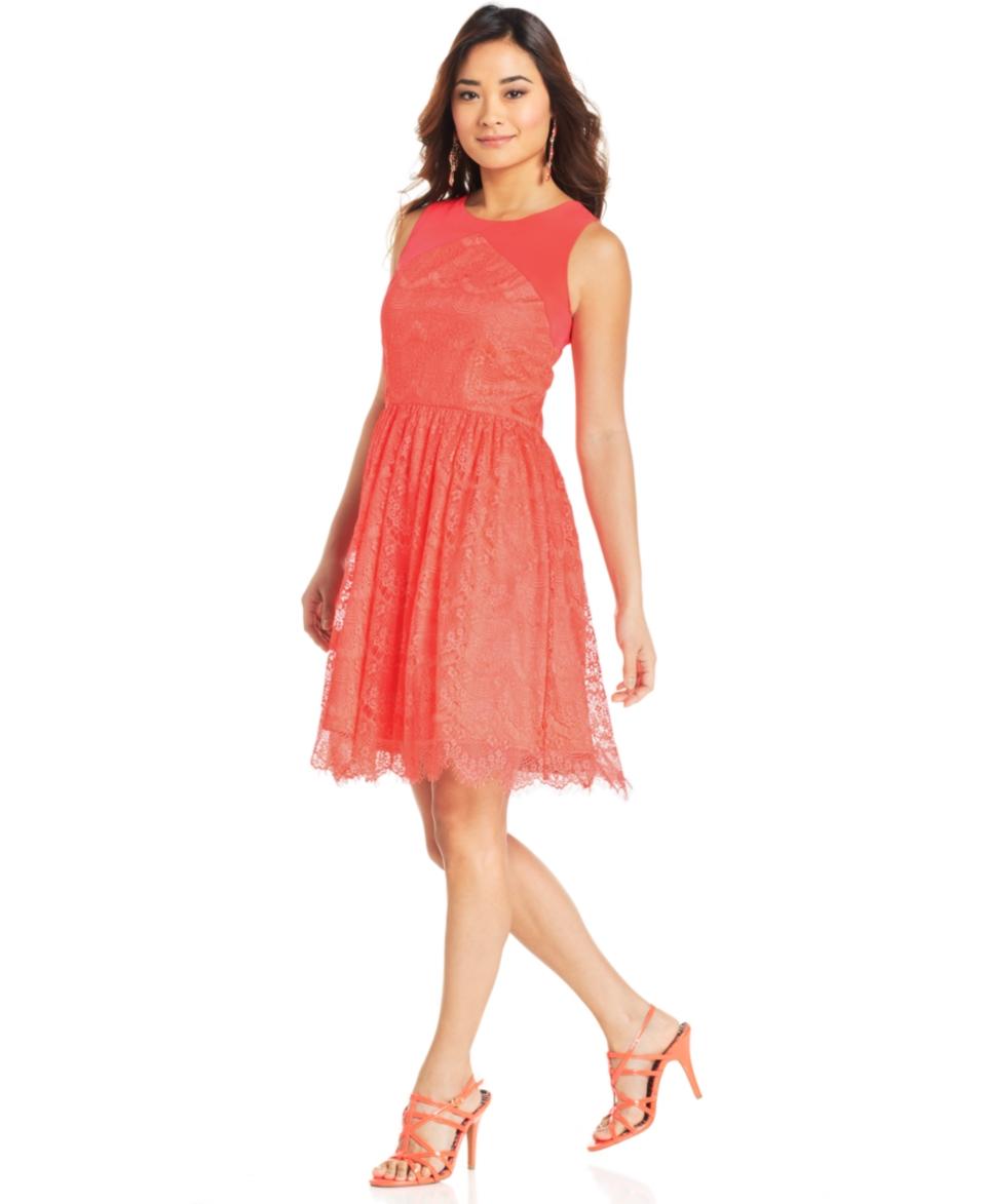 Jessica Simpson Sleeveless Cutout Lace Dress   Dresses   Women