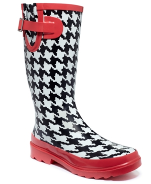 Chooka Classic Houndstooth Pop Rain Boots - A Macys Exclusive Womens Shoes