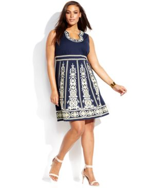 INC International Concepts Plus Size Sleeveless Embroidered A-Line, Macy's, $115