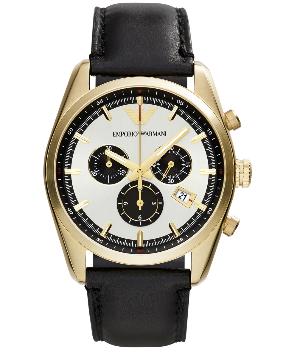 Emporio Armani Unisex Chronograph Black Leather Strap Watch 43mm AR6006   Watches   Jewelry & Watches