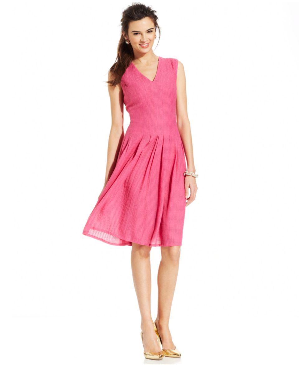 Anne Klein Petite Sleeveless Printed Belted Dress   Dresses   Women