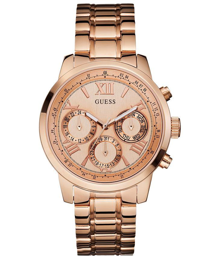 GUESS - Women's Rose Gold-Tone Stainless Steel Bracelet Watch 42mm U0330L2