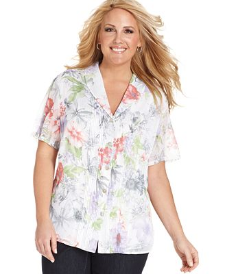 Alfred dunner plus size short sleeve floral print for Tucked in shirt plus size