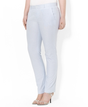 Lauren Ralph Lauren Plus Size Seersucker Straight-Leg Pants