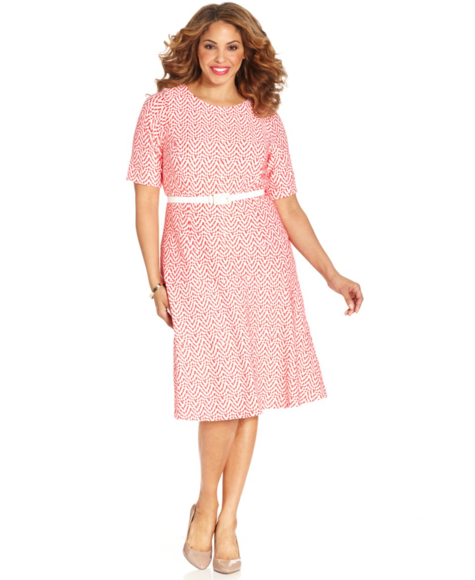 Jessica Howard Plus Size Printed Belted Dress   Dresses   Plus Sizes