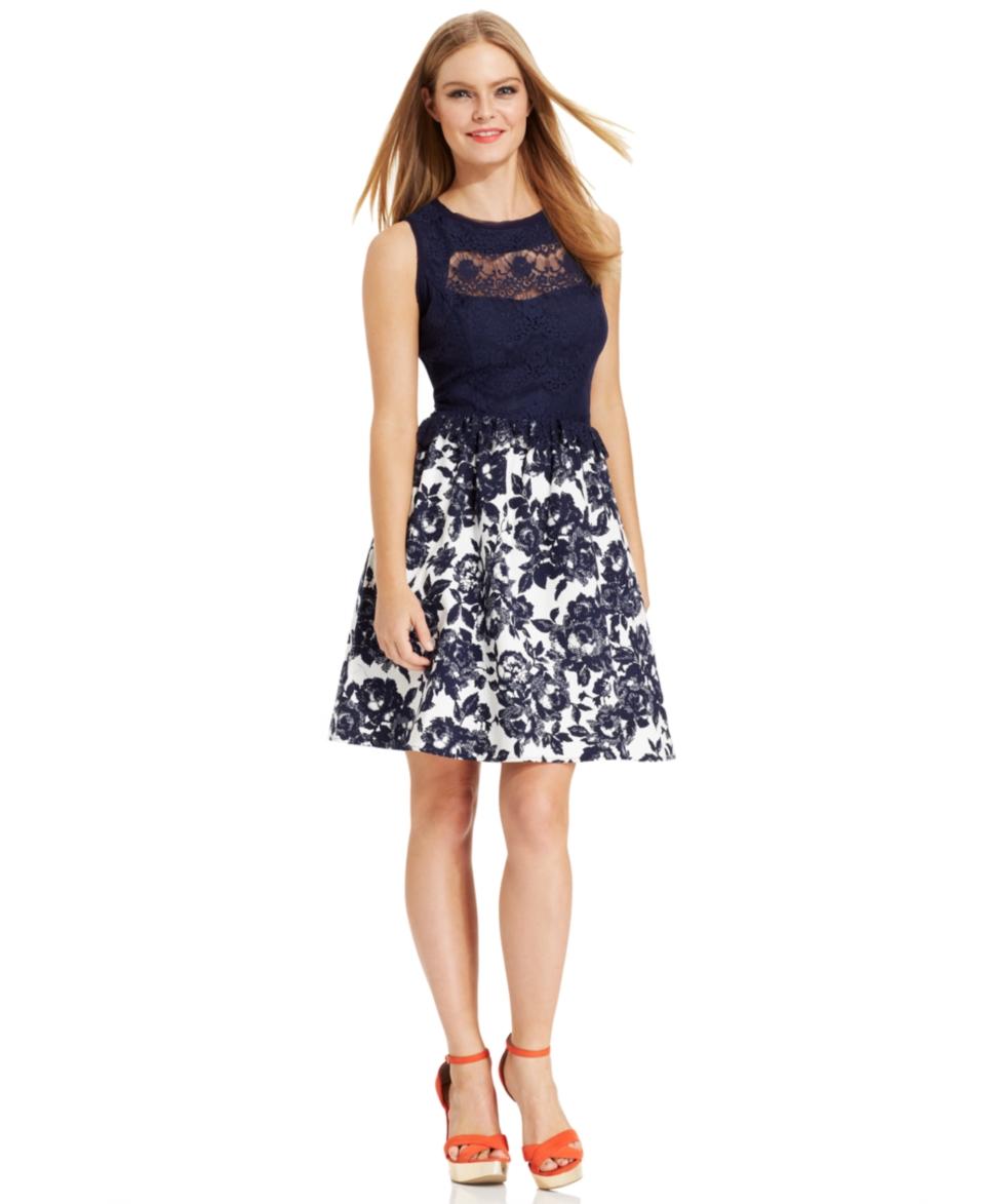 Jessica Simpson Sleeveless Lace Floral Print Dress   Dresses   Women