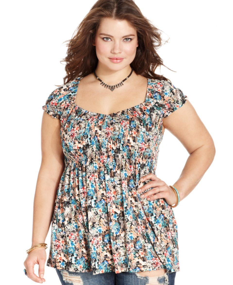 fcb8ee048cd94 American Rag Plus Size Three Quarter Sleeve Floral Print Babydoll Top Tops Plus  Sizes