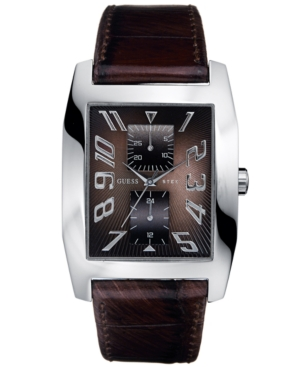 GUESS Watch, Men's Brown Leather Strap 38mm G85746G