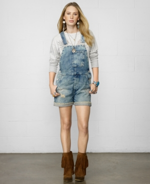 Denim & Supply Ralph Lauren Distressed Denim Overalls $ 145.00