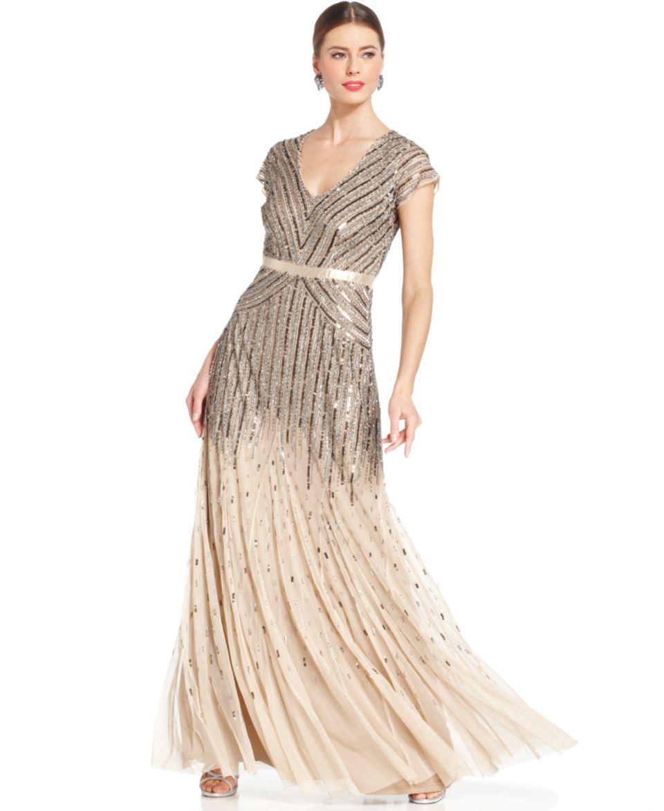 Adrianna Papell Petite Dress, Cap Sleeve Beaded Pleat Gown Dresses Women