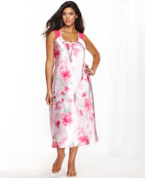Jones New York Plus-Size Printed Satin Gown