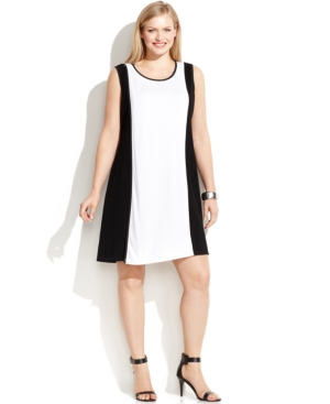 Calvin Klein Plus Size Sleeveless Colorblock Mesh-Trim Dress