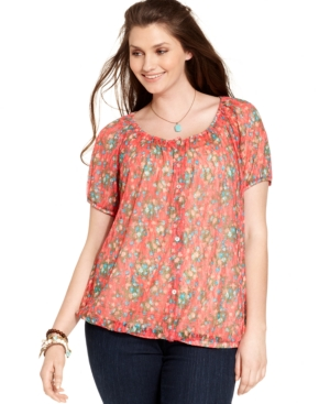American Rag Plus Size Button-Front Floral-Print Top
