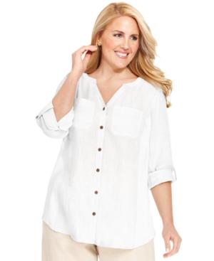 Jm Collection Plus Size Three-Quarter-Sleeve Linen-Blend Shirt