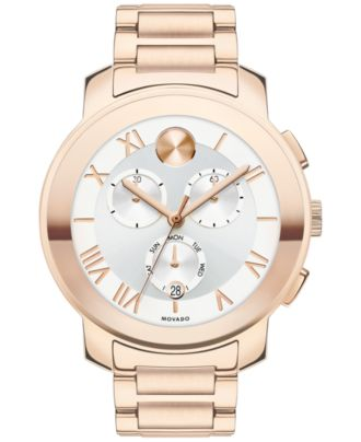 Movado Women's Swiss Chronograph Bold Rose Gold Ion-Plated Stainless Steel Bracelet Watch 40mm 3600207